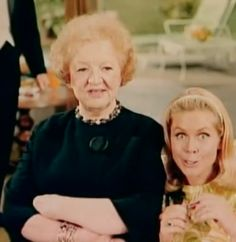 Elizabeth Montgomery and Marion Lorne Goofing off on the set of Bewitched  This picture makes me so happy, because Elizabeth Montgomery was known for being such a beautiful woman, but not being afraid of looking goofy. She was also a very private person, so capturing a moment of her in real life is nice :)