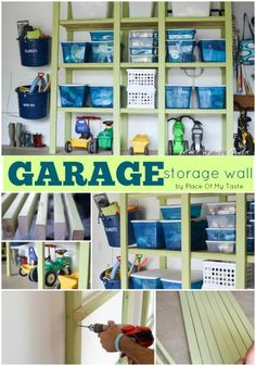 """Garage Storage Wall - I like the way you can """"park"""" kids toys on the ground level. Genius!"""