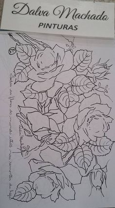 A imagem pode conter: desenho Laura Rodrigues, Embroidery Patterns, Hand Embroidery, Fabric Paint Designs, Flower Sketches, Rose Art, China Painting, Fabric Painting, Flower Patterns