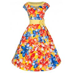 Pin Up Dresses Lily Flowers Yellow Reproduction Spring Pin Up Outfits, Pin Up Dresses, Dresses For Sale, 50s Dresses, Vintage Inspired Fashion, Vintage Inspired Dresses, Vintage Outfits, Dress Vintage, 50s Vintage