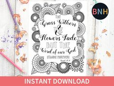 Excited to share the latest addition to my #etsy shop: Isaiah 40:8 Scripture Coloring Page, Scripture Coloring Page, Flowers, Printable Color, Bible Verse Coloring Page, Worship Coloring Page http://etsy.me/2FedFx0 #art #print #digital #isaiah408 #thegrasswithers