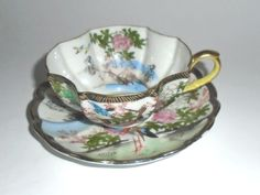 Particularly Pretty Hand Painted Cup and Saucer by Ardalt Occupied Japan