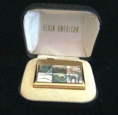 1950s Elgin American Lighter Abalone Gold Working Lighter In The Original Box
