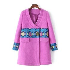 V-Neck Long Sleeve Spliced Pink Coat (1 310 UAH) ❤ liked on Polyvore featuring outerwear, coats, pink coat y long sleeve coat