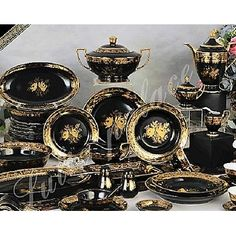 Luxury Design Palace black and gold dinnerware set | Overstock.com Shopping - The Best Deals on Casual Dinnerware