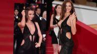VIDEO: Irina Shayk Narrowly Avoids Wardrobe Malfunction in See-Through Dress at Cannes