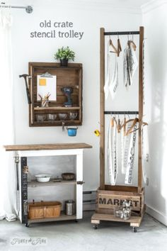 Hang Up Clothes Or Stencils With A Unique Old Crate Trolley! Written by Funky Junk Interiors for eBay