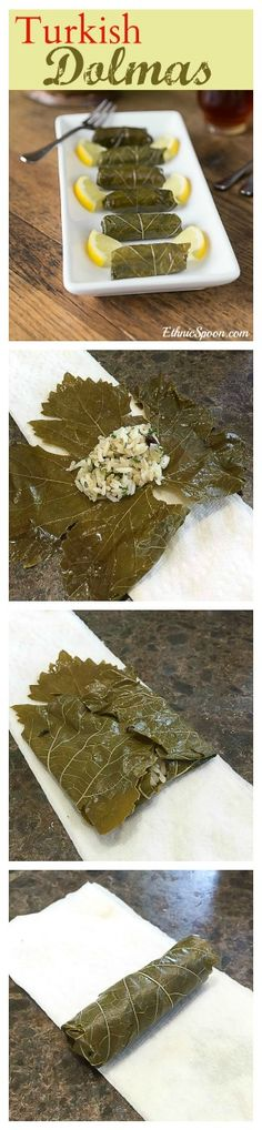 Turkish style dolmas and how to roll them before steaming. A traditionally dairy-free dish that tastes so rich! Lebanese Recipes, Turkish Recipes, Greek Recipes, Ethnic Recipes, Healthy Recipes, Cooking Recipes, Stuffed Grape Leaves, Eastern Cuisine, Middle Eastern Recipes