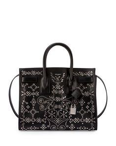 Sac de Jour Studded Leather Satchel Bag, Black by Saint Laurent at Neiman Marcus.