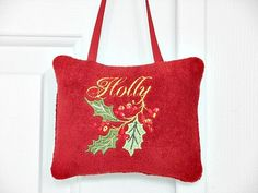Christmas Door Hanger Holly Red Green Mustard by PookieandJack