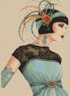 Cross Stitch Chart ART DECO FLAPPER LADY IN AQUA GREEN DRESS No.5vb-30 #FlowerPower37UK