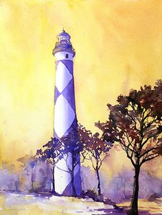 Watercolor painting of Cape Lookout lighthouse by Ryan Fox   Flickr - Photo Sharing!