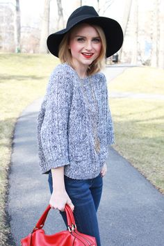 Poor Little It Girl - James Jeans Flare Jeans, Anthropologie Gray Sweater, Ora Delphine Red Handbag, Nissa Jewelry Pendant Necklace