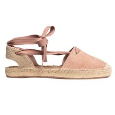 Espadrilles in imitation suede and jute with lacing that ties around the ankles. Jute insoles and rubber soles. Lace Up Espadrille Sandals, Lace Up Espadrilles, Ankle Strap Sandals, Shoes Sandals, Ladies Espadrilles, Pink Sandals, White Sandals, Closed Toe Summer Shoes, Closed Toe Sandals