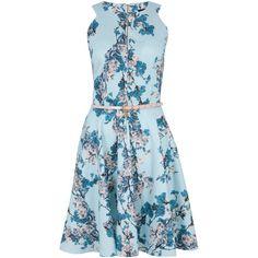 Closet Floral Keyhole Dress, Pale Blue ($27) ❤ liked on Polyvore featuring dresses, robe, midi skater skirt, midi dress, blue maxi dress, skater skirt and floral print maxi dress