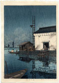 Kawase Hasui, 1929, Rain at Ushibori. Castle Fine Arts