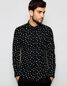 ASOS Skinny Shirt with Shadowed Shapes In Long Sleeve