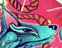Wolves, ropes and winter by Paola Garrido, via Behance. Acrylic in canvas #minizuka #painting #art