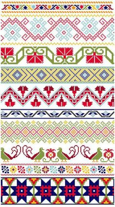 Mexicanos Folkloricos Mexican Cross Stitch Borders  www.blackphoebedesigns.com