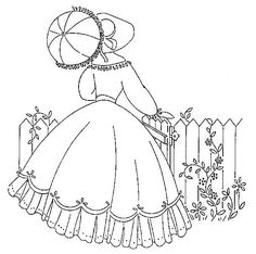 Vintage embroidery pattern.  Lady in long dress with parasol and fence with flowers.