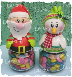 Santa and Snowman jar toppers in clay Polymer Clay Christmas, Christmas Ornament Crafts, Clay Ornaments, Noel Christmas, All Things Christmas, Christmas Decorations, Xmas, Clay Jar, Foam Crafts