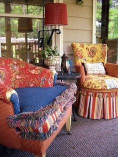 porch seating  Very Mary Engelbreit-ish, love it!