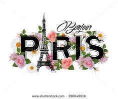 T-shirt print design with slogan Hello Paris. Hand drawn Eiffel tower, frame and pink roses.Paris and flowers. Paris Party, Paris Theme, Paris Background, Eiffel Tower Painting, Paris Wallpaper, Paris Images, Shirt Print Design, I Love Paris, Fashion Wall Art