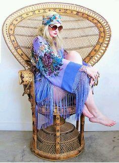 fringe kimono, peacock chair, rose glasses