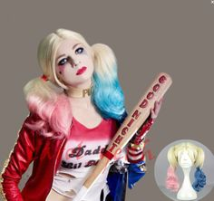 New Film Movie Suicide Squad Harley Quinn Cosplay Wig Gradient Wigs Jocker in Clothing, Shoes & Accessories,Women's Accessories,Wigs, Extensions & Supplies | eBay