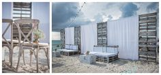 rustic breach wedding  ceremony white wood draped white linen wedding by Celebrations Grand Cayman