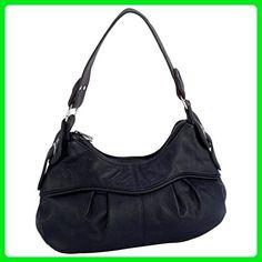 c7e1bcf568ab Letter Love Beautiful Black Purse Solid Leather Shoulder Strap Bag Hobo  Travel Tote Handbag - Shoulder
