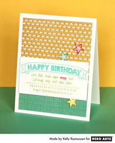 Customize a birthday card with the Happy Birthday Calendar stamp #HeroArts
