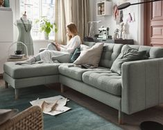 IKEA LANDSKRONA is a retro-style sofa with buttoned seats, resilient cushions, marked legs, and an overall touch of elegance. Living Room Sofa, Living Room Furniture, Living Room Decor, Landskrona Sofa, Living Room Scandinavian, Ikea Couch, Ikea Family, Living Room Designs, Home Furnishings