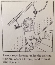 Stair toddler safety - so clever/ interesting to add rope to the railing to help little ones learn to climb the stairs safely!
