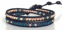 "This Double Wrap Bracelet has a wrap each of ""Saturated Navy"" Fire Polished Round Glass Beads"