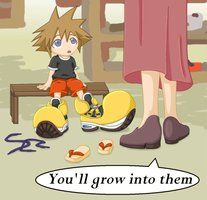 KH - Shoes by ~tacokisses on deviantART Sora's signature large, mickey mouse shoes :p