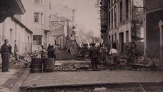 Primer asfaltado de la calle Gaiteira en el año 1953/54.