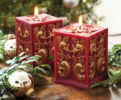 Christmas candles Beautiful Candles, Best Candles, Diy Candles, Pillar Candles, Decorative Candles, Rose Candle, Candle Lamp, Candle Lanterns, Square Candles