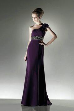 One Shoulder Beading Draping Purple Evening Dresses