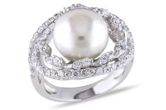 Silver Ring with 11-12mm FW Pearl & White Topaz Gemstones