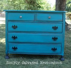 Peacock Blue Chest of Drawers- {Painted Furniture Before & Afters}
