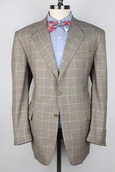 MANZINI Gold Beige Plaid SUPER 120S Wool 44 R mens Sport Coat Blazer #Manzini #TwoButton