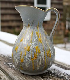German Funky Mid Century Modern Gray Gold Yellow by LittleJunco, $25.00