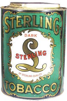 Sterling Dark Tobacco Tin Store Bin