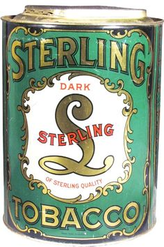 Sterling Dark Tobacco Tin Store Bin