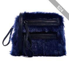 e3083c0d49 ASOS Faux Fur Cross Body Bag With Double Zip Blue Shoulder Bags