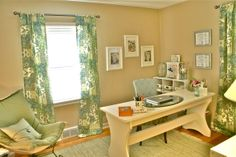 Light & Lovely Home Office, We turned an empty bedroom into a chic home office with a lovely green, blue and tan color scheme and beachy accents. The desk is a repainted antique work table and the bookcases are from Target and Ikea., Home Offices Design