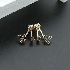 Trendy Sweet Rhinestones Birds Stud Earring Ear Jacket Animal Earrings for Women Rhinestone Earrings, Women's Earrings, Animal Earrings, Wearable Device, Ear Jacket, Ear Studs, Heart Ring, Jewelry Watches, Women Jewelry
