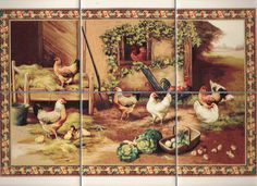 12 Rooster Decorative Bathroom/Kitchen Metal Tile Covers 4   cermice ...