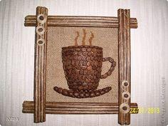 Картина панно рисунок Аппликация Панно кофейная чашка Кофе Шпагат